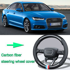 Car Non-slip black carbon fiber leather car steering wheel cover for Audi A6