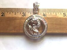 CZ Dragon Sterling Silver Pendant - 1.2 Inches Tall  .925 Pure Silver