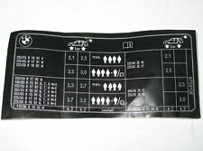 BMW E46 318i Touring Tyre Pressure Chart Table Label 71246759106