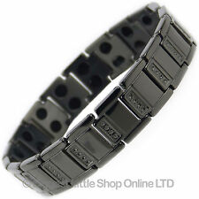 Mens Jet Black TITANIUM Magnetic Bracelet NEW 34 Magnets NdFeB Neodymium Therapy