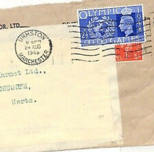 AD60 1948 GB OLYMPICS *Urmston* Manchester Cover Super AUSTERITY PERIOD Usage