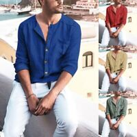 Mens Long Sleeve Shirts Casual Formal Loose Fit T-Shirt Tops Linen Blouse Button