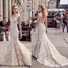 Lace Bridal Gown Mermaid White Ivory Wedding Dress Custom Size 6-8-10-12-14-16-+