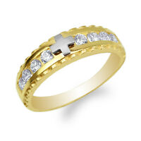Womens 10K/14K Yellow Gold Two Tone Fancy Cross Band Ring Size 4-10