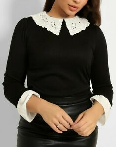New Stunning Dorothy Perkins Size 16 Broiderie Collar Jumper