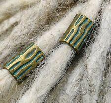 Dreadlock Beads, set of 2 Antique Bronze & Verdigris Finish. Hole 10x7mm. Dreads