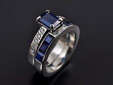14k white gold over white & blue sapphire wedding 2 pcs bridal ring set all size
