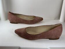 VIA SPIGA SALMA Pink Suede Pointed Toe Scalloped Edge Flats Women's Size: 8