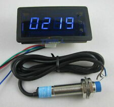 12V 4Digit Blue LED Counter Meter with Relay Output+Proximity Switch Sensor NPN