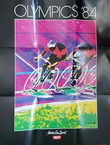 """VINTAGE 1984 OLYMPICS POSTER~Los Angeles Cycling Levi's 22x28"""" Original Rare~OOP"""