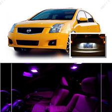 For Nissan Sentra 2007-2012 Pink LED Interior Kit +Xenon White License Light LED