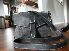 ROOTS Grey Leather Cross body bag