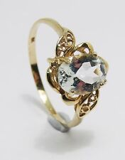 100% Genuine Vintage 9k Yellow Gold Filigree 1.52cts Clear Quartz Ring Sz 7.5 US