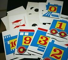 Vtg Flash Card Lot 1960s Math Counting Train Numbers Teacher Classroom -W #