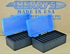 (2) 38 / 357 Plastic Storage Ammo Boxes (Blue / Black ) Berry'S Mfg. 38/357