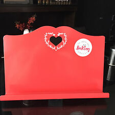 Retro ENAMEL RED Heart Cook Book Stand Recipe Book Holder Kitchen Metal Stand