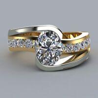 18K Gold Filled Fashion White Topaz Ring Women Wedding Jewelry Engagement Sz5-11