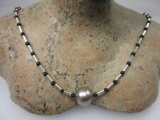 Von Limbella: Feinste Onyx-Tahitiperlenkette 925er Silber