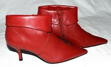 "FIONA Red Faux Leather Pointed Toe Womens 2.5"" Heel Zipper Ankle Boots Sz 6.5 M"