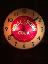 "Vintage 15 "" Royal Crown Cola Light Up Glass Bubble Clock / Ohio Ad / BIG TIME"