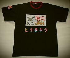 JAPAN - GIAPPONE - T-SHIRT BLU - RAGAZZO/A - TG.L - ORIGINALI APPLICAZIONI RARO!
