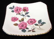4 in square Royal Adderley bone china pin dish flowers gold trim England