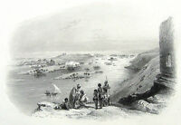 Egypt Nubia NILE RIVER LANDSCAPE FLOODED PLAINS BOATS ~ 1850 Art Print Engraving