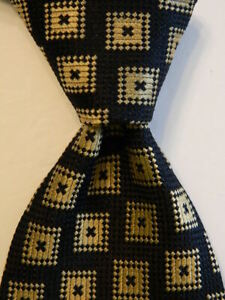 GIORGIO ARMANI Cravatte Men's Silk Necktie ITALY Designer Geometric Blue/Tan EUC