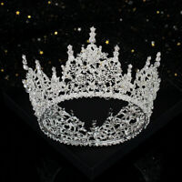 8cm High Round Crown Crystal Flower Wedding Bridal Party Pageant Prom Tiara