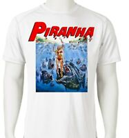 Piranha Dri Fit graphic T-shirt retro 80s sci fi horror movie SPF sun shirt