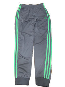 Adidas Boys Track Athletic Pants L 14/16 Grey/Green