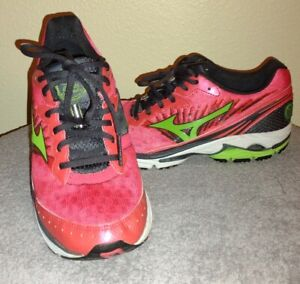 Mizuno Wave Rider 16 Womens 9.5W Neon Pink Lime Green Very Nice Used Conditioner