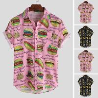 Mens Printing Lapel Neck T Shirt Short Sleeve Hawaiian Casual Streetwear Top Tee