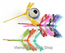 Lot of 10 Hand Carved Painted Self Balancing Bamboo Dragonfly Decoration 6 inch
