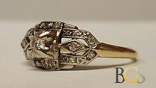 Antique Ladies 14K Yellow & White Gold Diamond Filigree Ring - Sz 5 - A MUST SEE