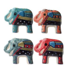 Beautiful Hand Painted Handmade Ceramic Door Knobs Elephant Shape