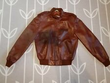 Members Only Red Brown Leather Jacket Cafe Racer Motorcycle Medium M Men