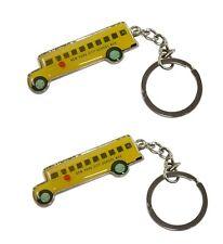 2 Pcs Retro Style New York City NYC Yellow School Bus Keychain Key Chain Ring