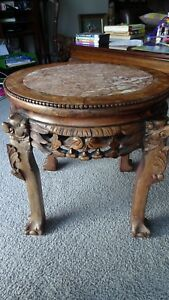 """RARE   18"""" Carved Wood Chinese Table Plant Stand Hard Marble Top ~ Local pick up"""