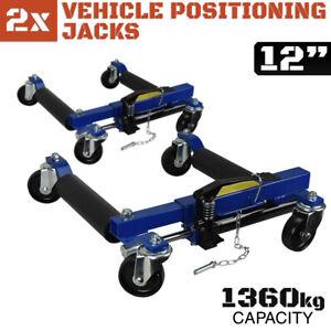 "12"" Hydraulic Vehicle Positioning Jacks PAIR -  Wheel Dolly Car Go Tyre Jack 2x"