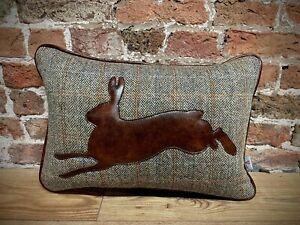 "Running ""Hare"" Harris Tweed & Leather Cushion 20"" X 14"""