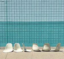 Herman Miller   Set (6) Eames White Shell Chairs   Mid Century Fiberglass