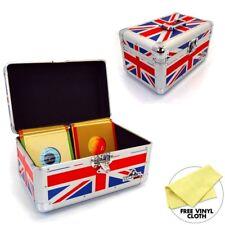 "Gorilla 200 x 7"" Singles Vinyl Record Box Storage Carry Case Union Jack (Pair)"
