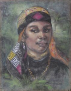 Large Original Signed Pastel Drawing-Illegibly Signed-Moroccan Nobility Portrait
