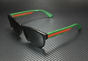 GUCCI GG0340S 006 Black Grey Men's Rectangle Sunglasses 58 mm
