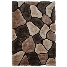 Beige & Brown Pebble Rug Shaggy Pile Noble House Soft Hand Tufted Home Décor Mat 120cm X 170cm