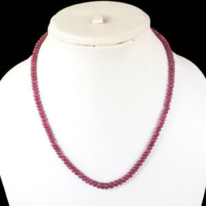 """18"""" Natural Ruby Necklace 4.3mm-6mm Stunning Red Cabochon Beads 925 Silver Clasp"""