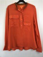 Joe Fresh ladies blouse breast pocket long sleeve orange silk size M 003