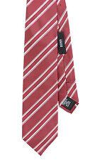 Hugo Boss Red Striped 100% Silk Neck Tie