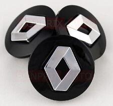 4 Caches Jante moyeux Centre roue - Boulon - RENAULT Noir - 57mm